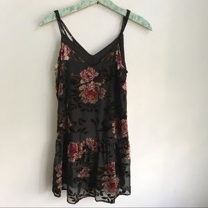 American eagle velvet drop waist floral dress
